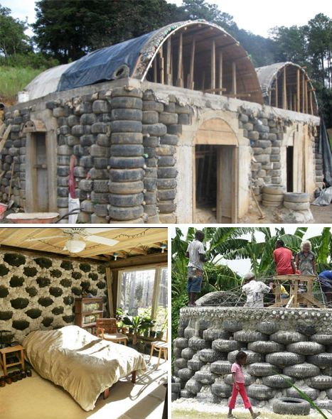 Waste Materials That Are Reclaimed For New Structures Can Be As Simple As A Bunch Of Stacked Tires Or A Boat That S No Earthship Home Earthship Recycled House