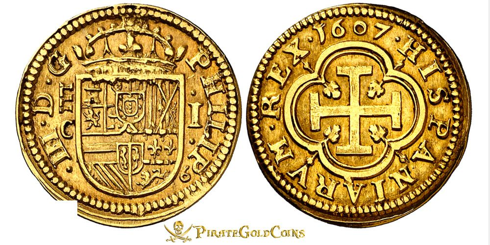 SPAIN 1607 1 ESCUDO PCGS AU Dt  RARE VARIETY PIRATE GOLD