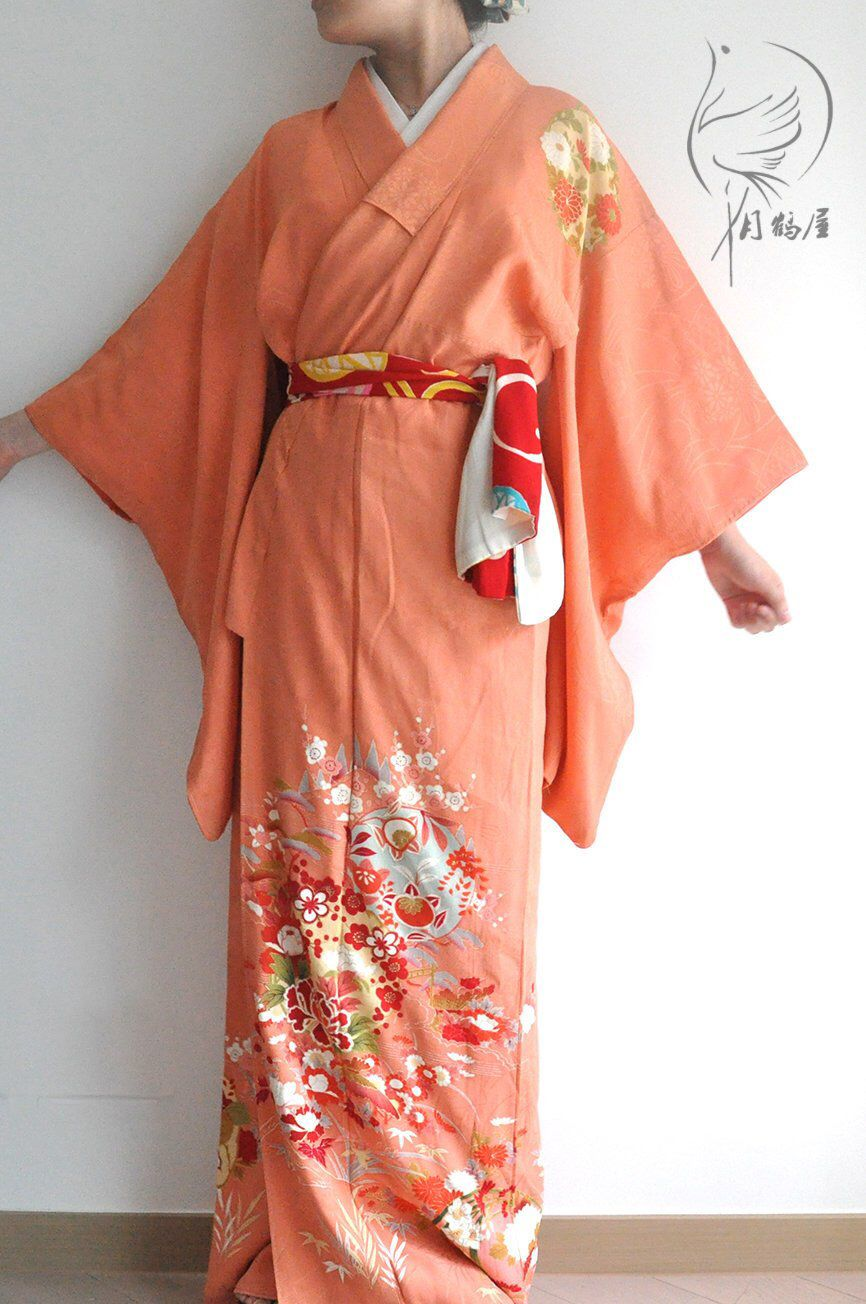 911e205cd Japanese antique silk long kimono robe, vintage authentic tsukesage  visiting pink floral maxi kimono gown