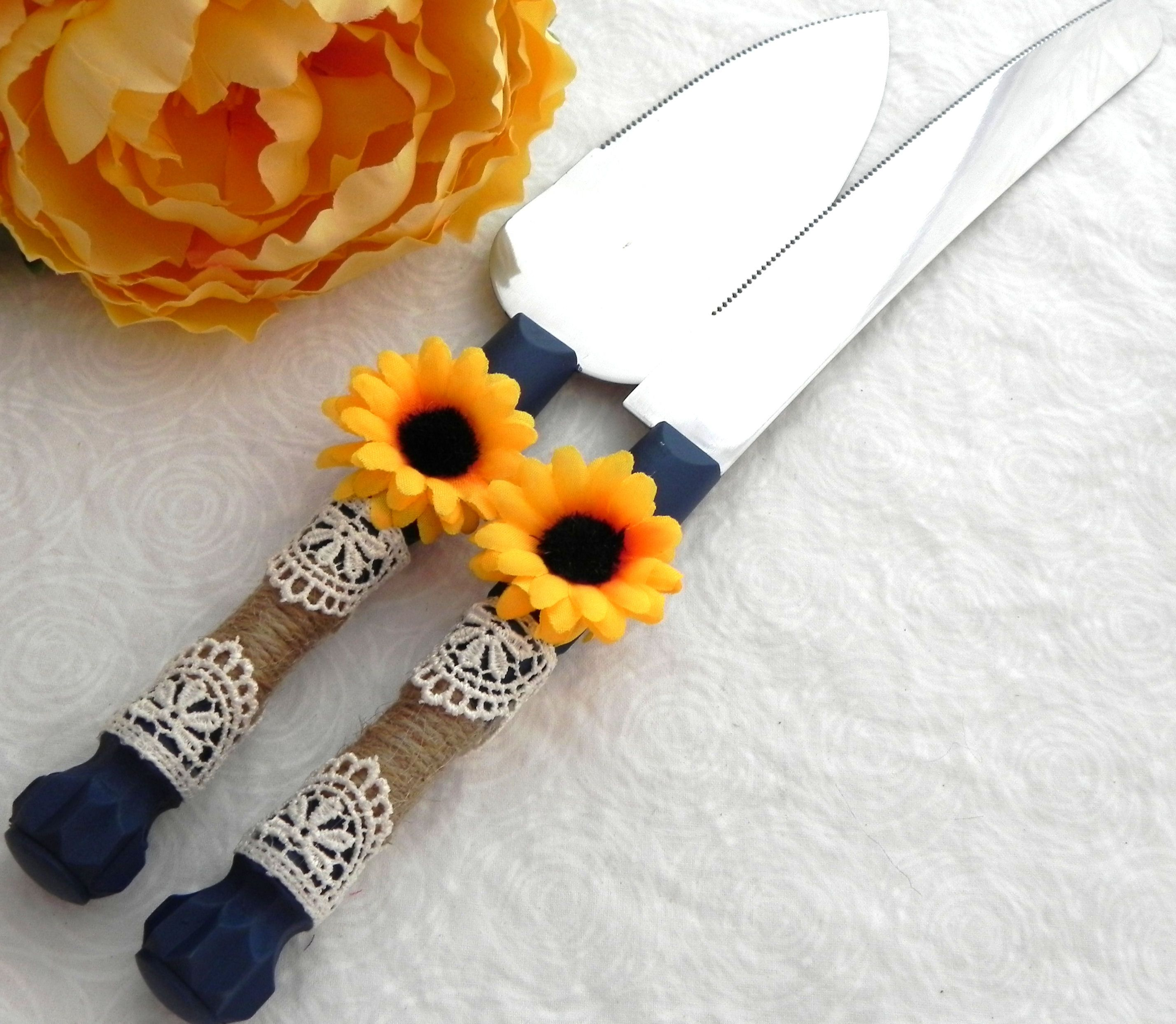 Rustic Sunflower Wedding Cake Server And Knife Set, Navy