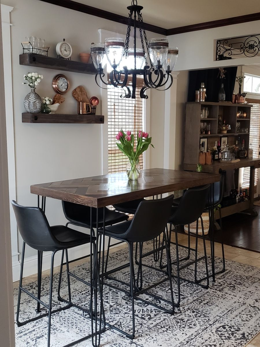 Herringbone Bar Height Dining Table With Hairpin Legs Ana White Bar Height Dining Table High Dining Table Dining Room Small