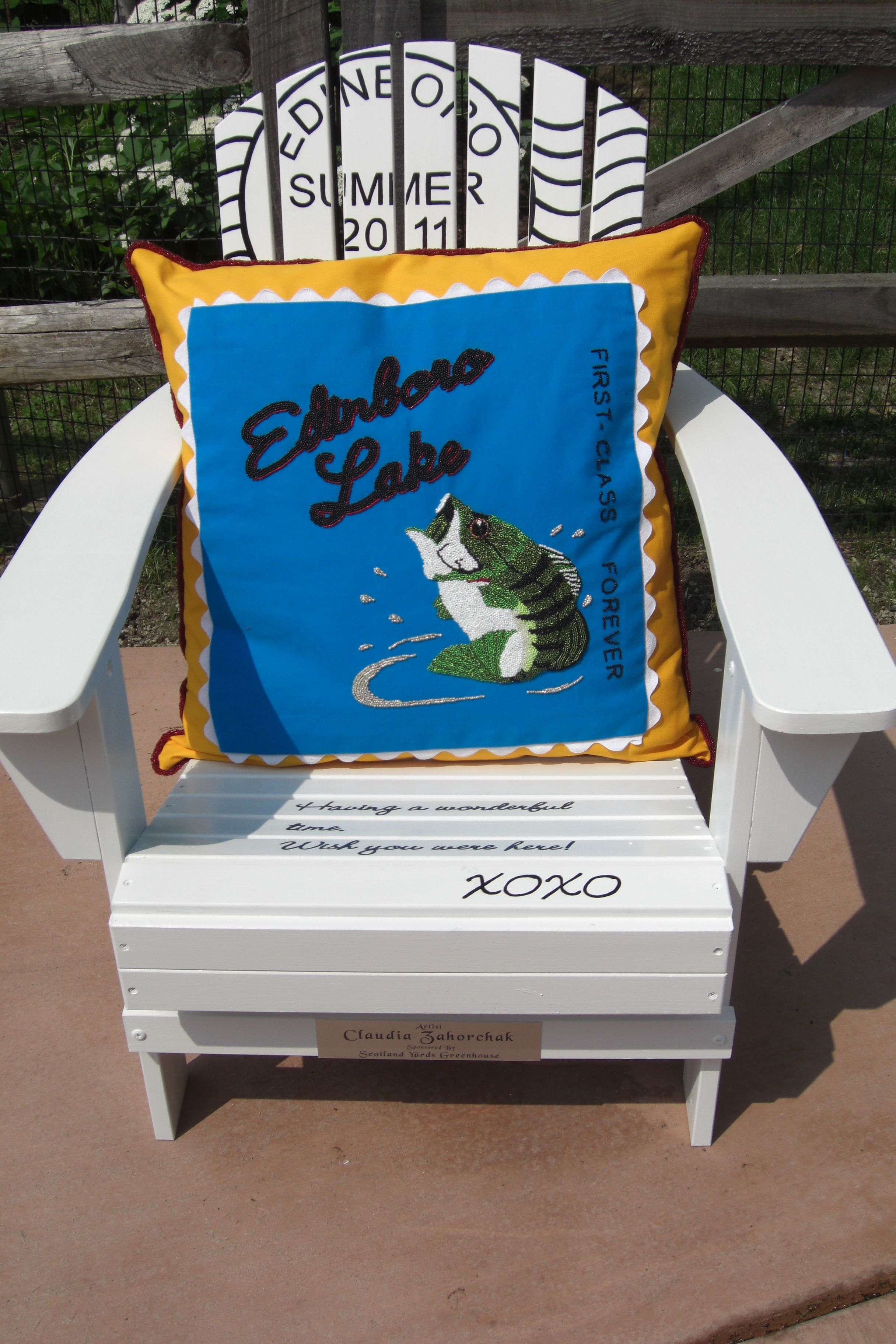 Painted Adirondack chair for Lakeside Home Association in Edinboro