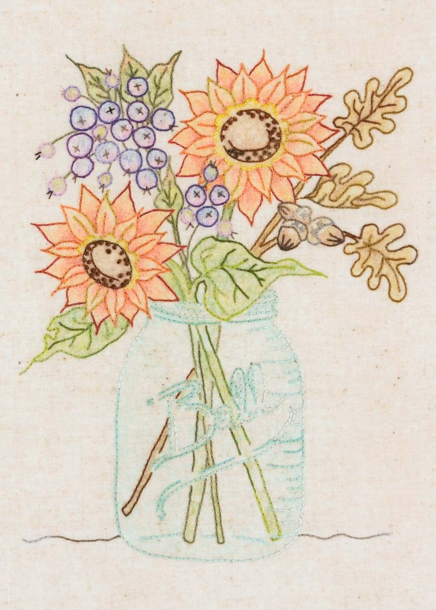 Sunflower Jar Stitchery