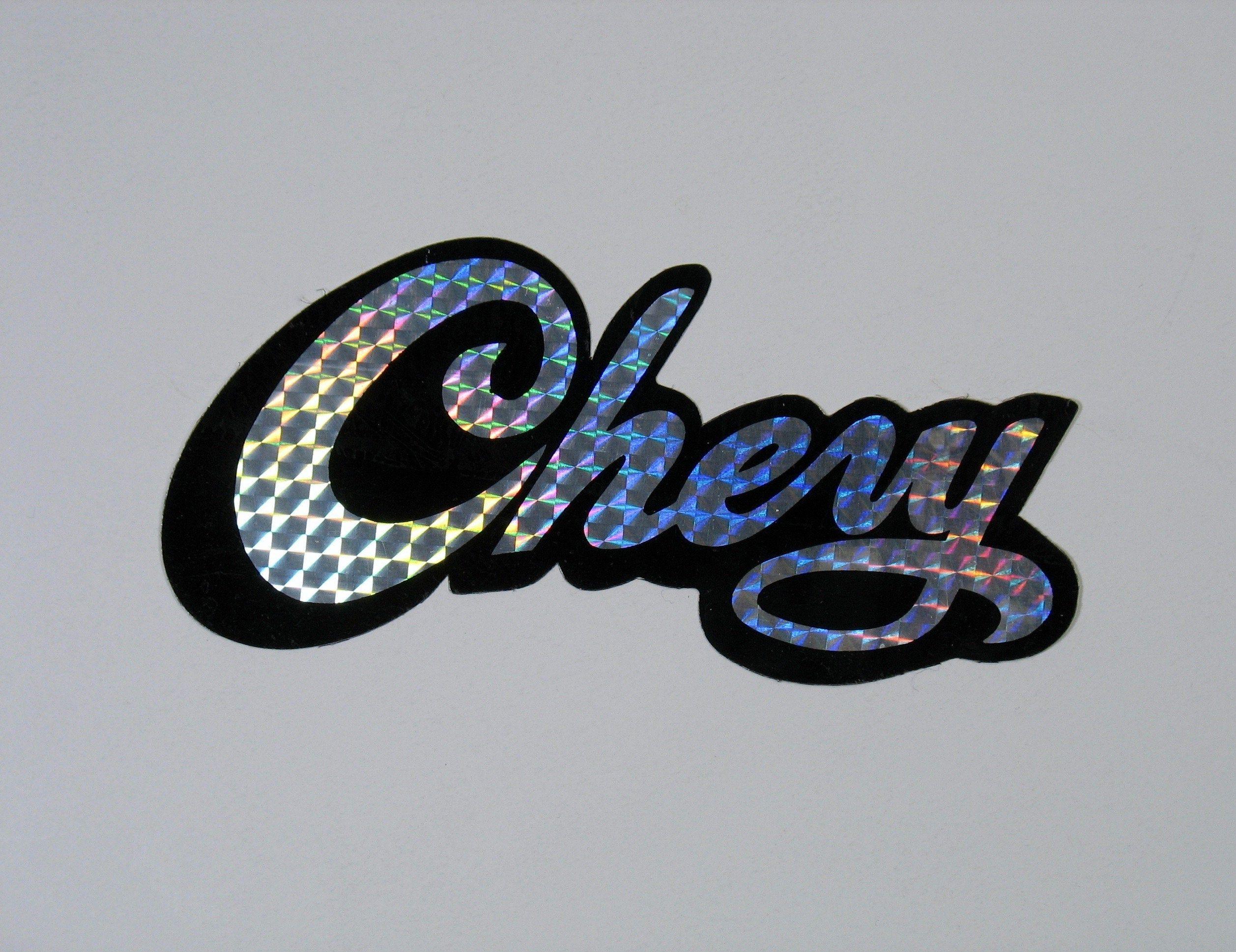 Vintage Chevy Prism Sticker Vending Decal Camper Van Holographic Reflective Chevrolet Muscle Car Logo 70s 80s Bar Pub Shop Car Logos Chevy Camper Van [ 1938 x 2515 Pixel ]