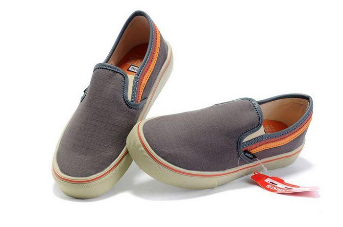 7638c968f4 Grey Vans Mens Classics Chambray Slip-On Shoes Orange Strip