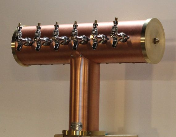 Custom 6 Tap Draft Beer Tower Copper Brass Glycol Cooled German