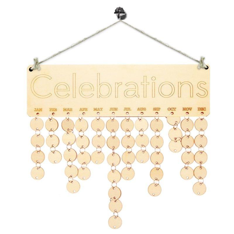 Diy wooden celebration days birthday calendar board