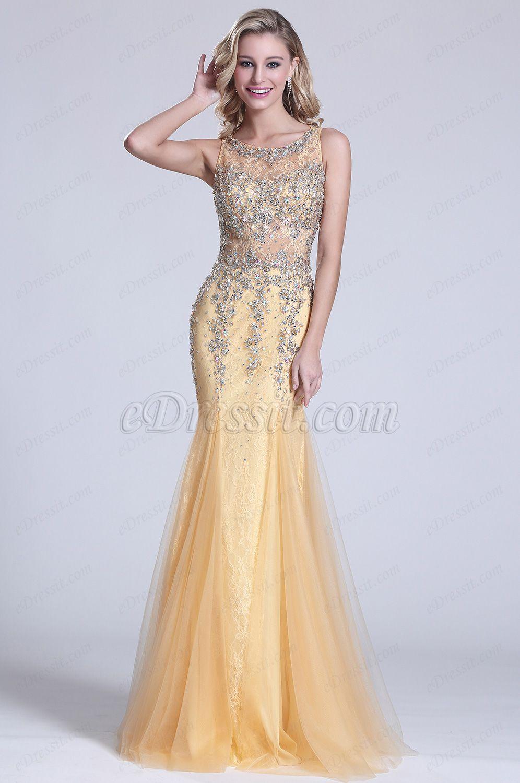 29d31611bc Trumpet Sleeveless Beaded Illusion Prom Dress (C36150714)  edressit  prom   dress  graduation  latest  women