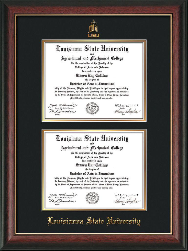 Louisiana State University Diploma Frame - Rosewood w/Gold Lip - w ...