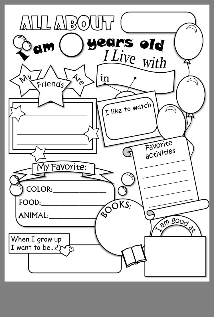 Pin By Lea Leirer On Stuff I Want To Print All About Me Worksheet School Activities Writing Worksheets