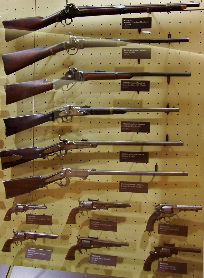 From top to bottom: Richmond Carbine (Confederate manufacture) .58 caliber…