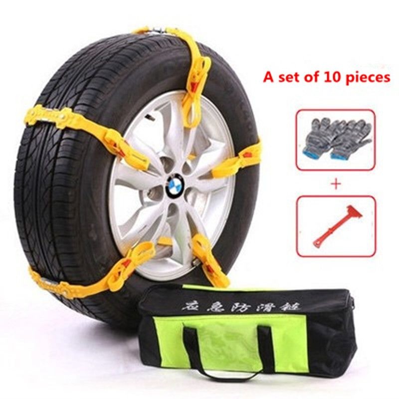 10 Pieces Winter Car Snow Tire Anti-skid Wheel Chains 145-285mm Adjustable Thickened Tire Wheel TPU Chain for Snow Mud Road