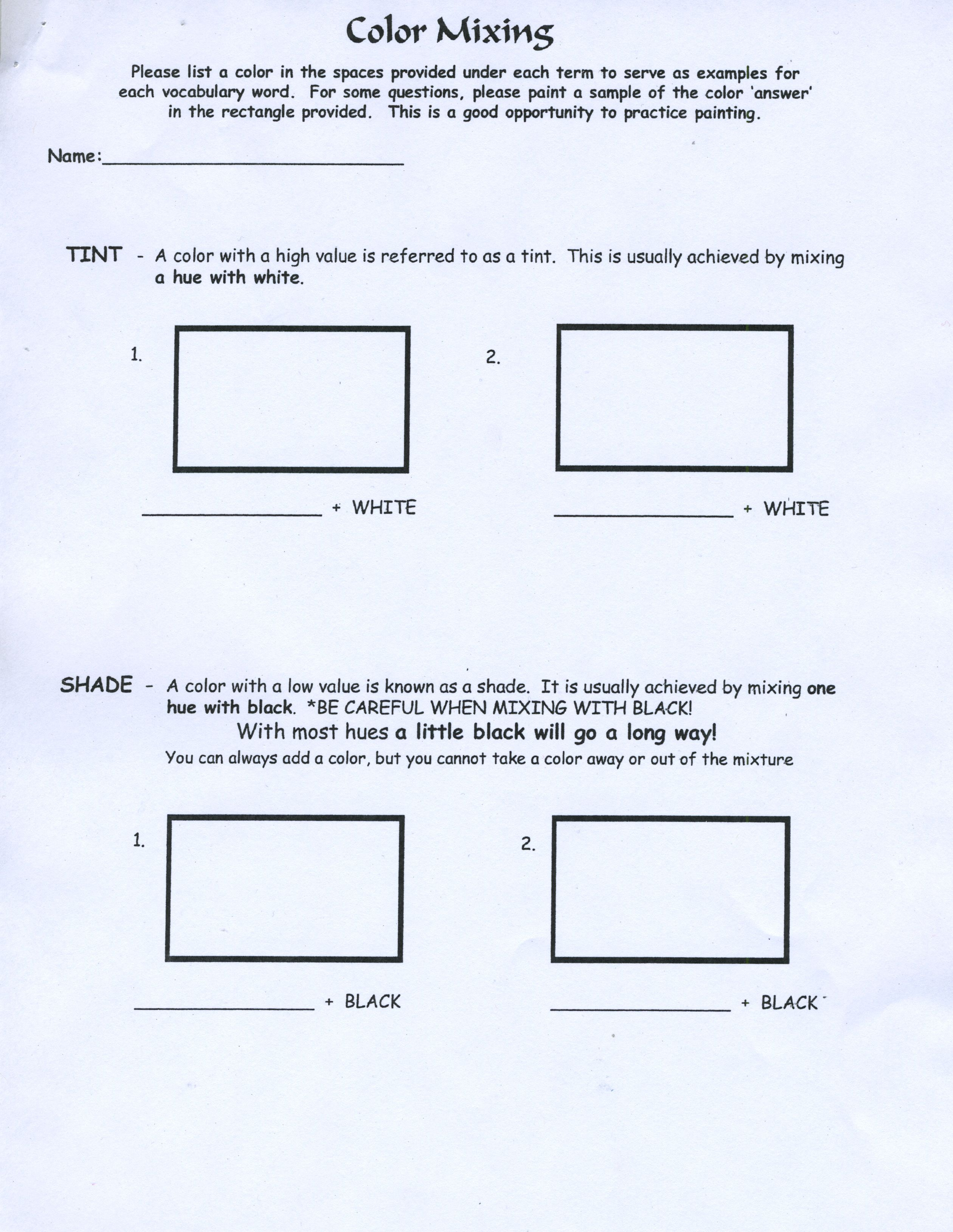 Worksheet On How To Mix Brown Paint