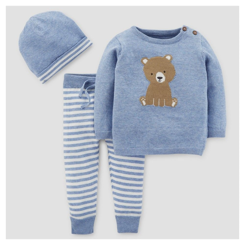 3a0d1ff5da39 Baby Boys  3pc Bear Stripe Sweater Set - Just One You Made by Carter s Blue  18M