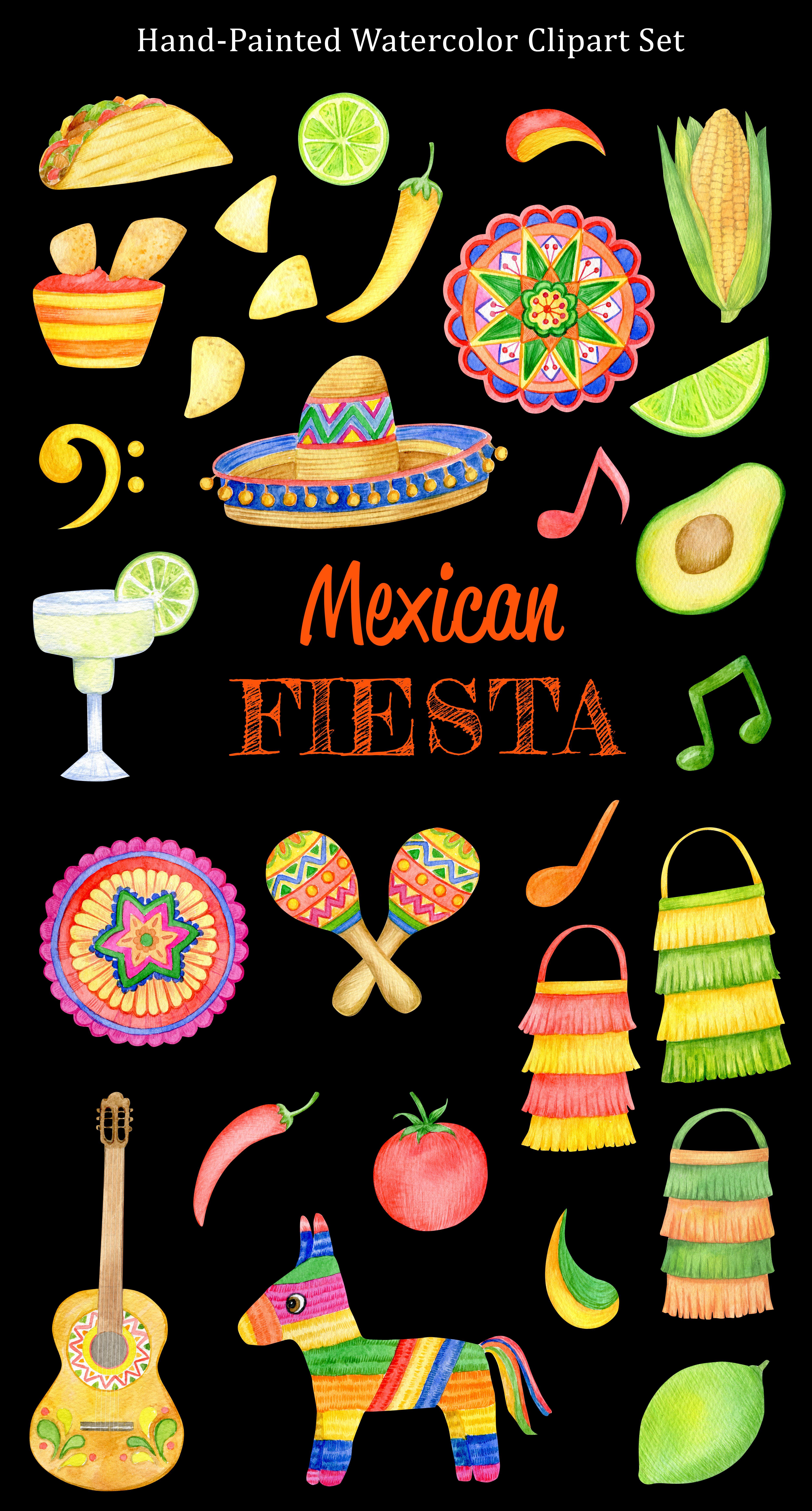 Watercolor Mexican Fiesta Clipart Set Cinco De Mayo Summer Etsy In 2021 Clip Art Mexican Crafts Mexican Fiesta