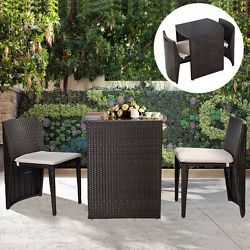 Rattan Garden Bistro Set Cafe Tea Breakfast Chair Table Set Patio W Cushions Small Patio Furniture Patio Sofa Set Wicker Patio Set