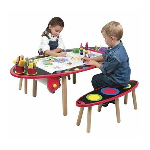 Amazon Com Alex Super Art Table With Paper Roll And Two Benches Toys Games Kids Art Table Kids Table Chair Set Art Table