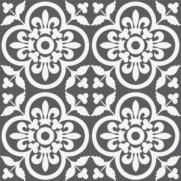 Zementfliese A 185-7 mit floralem, großzügigem Muster ist ...