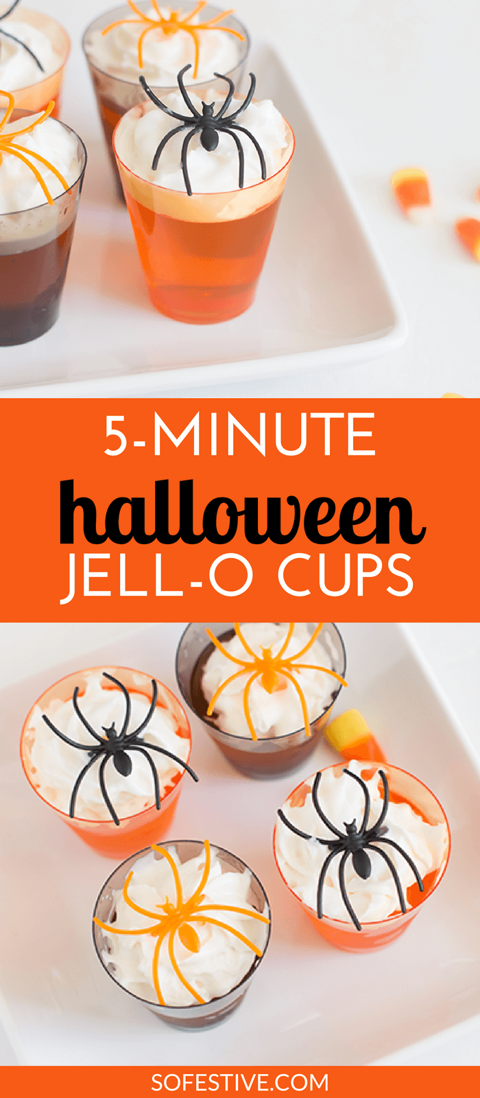 5-Minute Halloween Jello Spider Shots - So Festive! #halloweenjelloshots