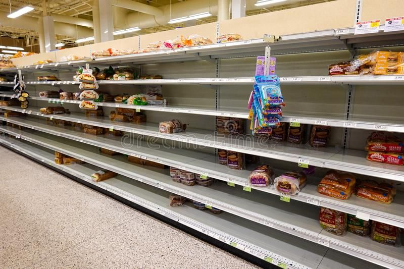 Empty Grocery Store Shelves Of Bread Before A Hurricane Or Snow Storm Royalty Fr Aff Shelves Bread Hurricane Emp Grocery Store Store Shelves Grocery