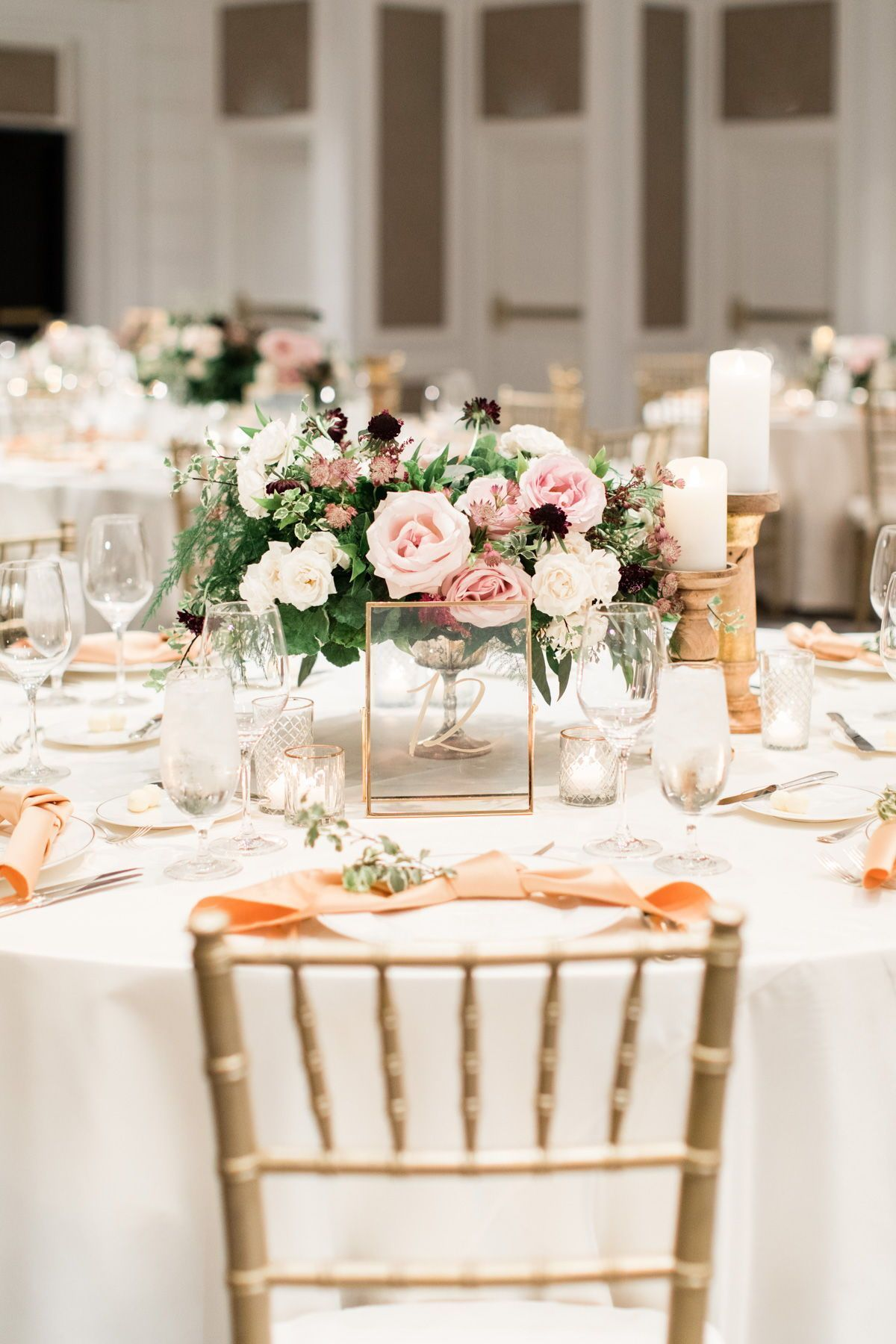 The Us Grant Hotel Wedding Venue Tour In San Diego Ca In 2020 Wedding Floral Centerpieces Wedding Table Pink Pink And Gold Wedding