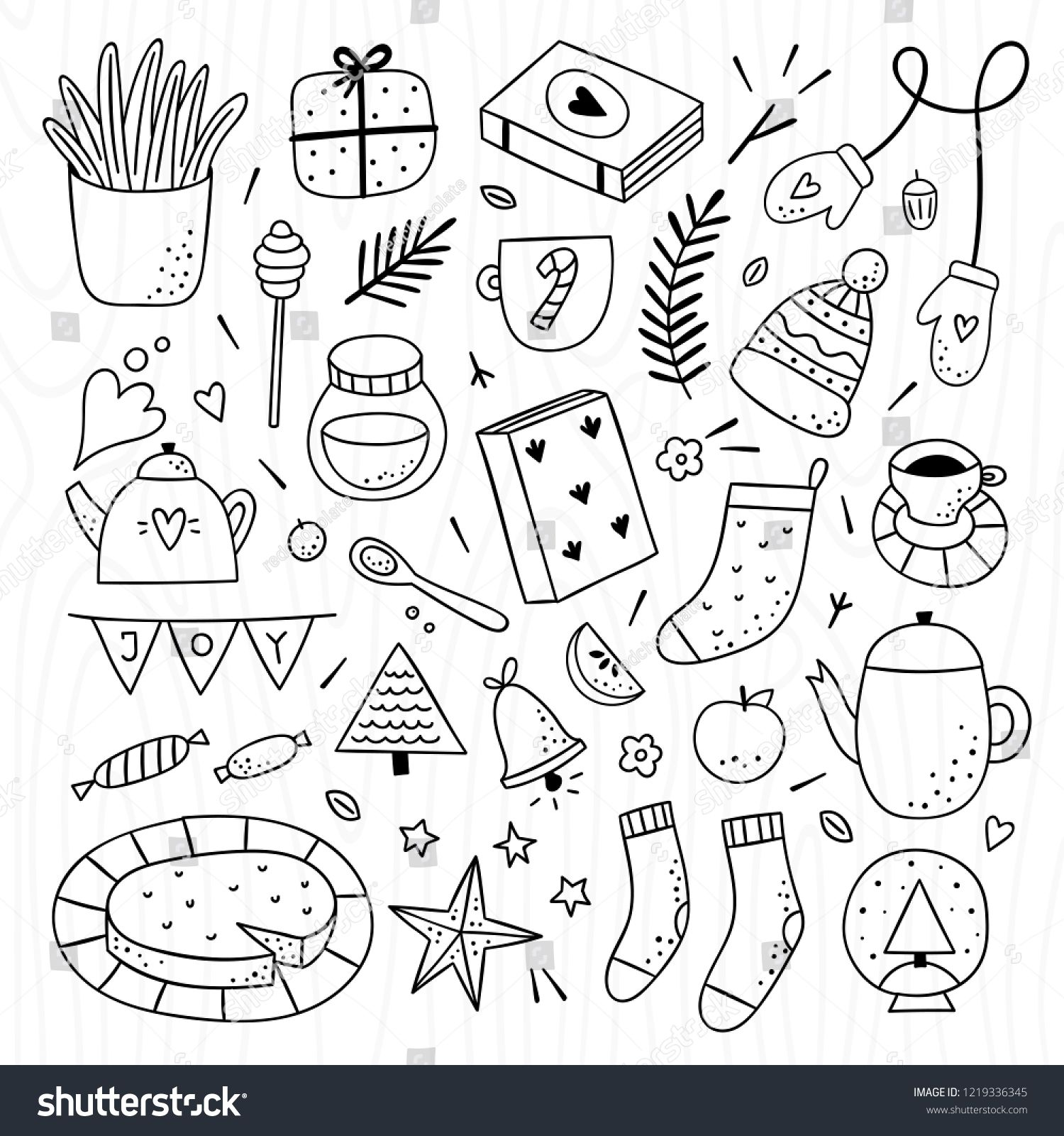 Hygge Elements Outline Collection Cozy Home Lifestyle Objects On White Background Winter And Autumn Cute Doodles Sponso Cute Doodles Planner Doodles Doodles