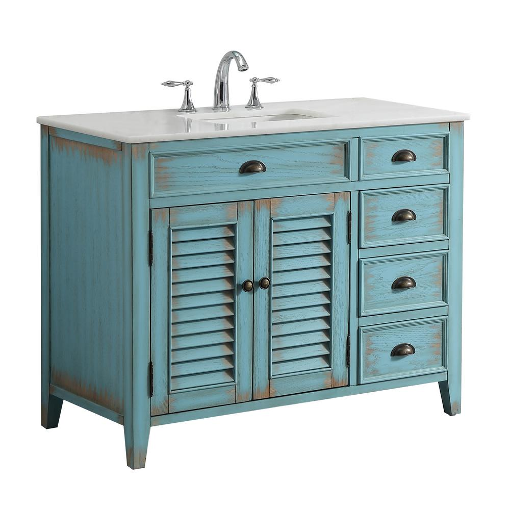 Palm Beach 42 In W X 21 75 In D Vanity In Distressed Blue With Marble Vanity Top In White With White Basin Mod884bl 42 Single Bathroom Vanity Vanity Set Diy Vanity Mirror