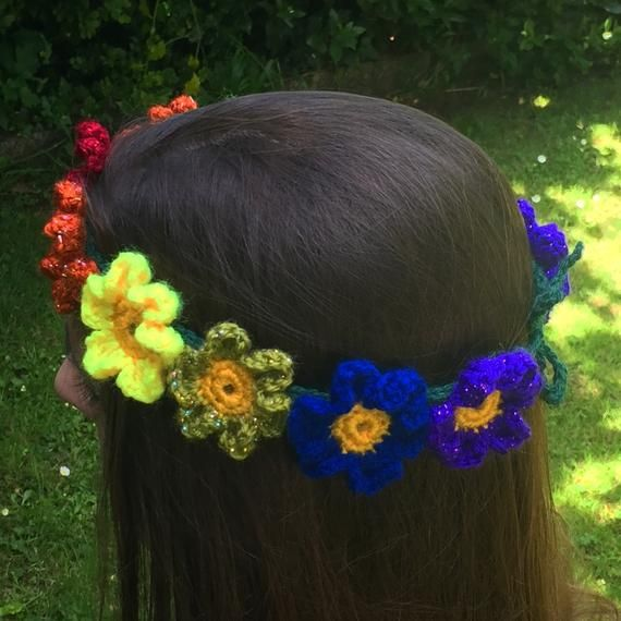 Rainbow Flower Crown Headband Garland Festival Flower Fairy Hair Band or Hat Band Crochet SPARKLE 20/50cm plus ties Hippie Boho Pride LBGTQ #crownheadband