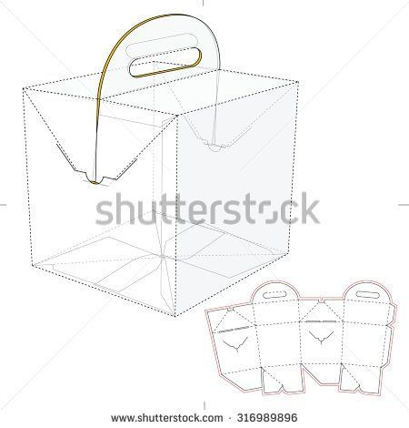 Tapered Square Fast Food Box with Handles and Die Line Template - packing label template