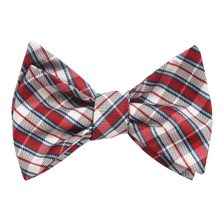 469b2d4e6e21 Tango Maroon with Blue Stripes Self Tie Bow Tie   Men's Tuxedo Suit Bow  Ties UnTied