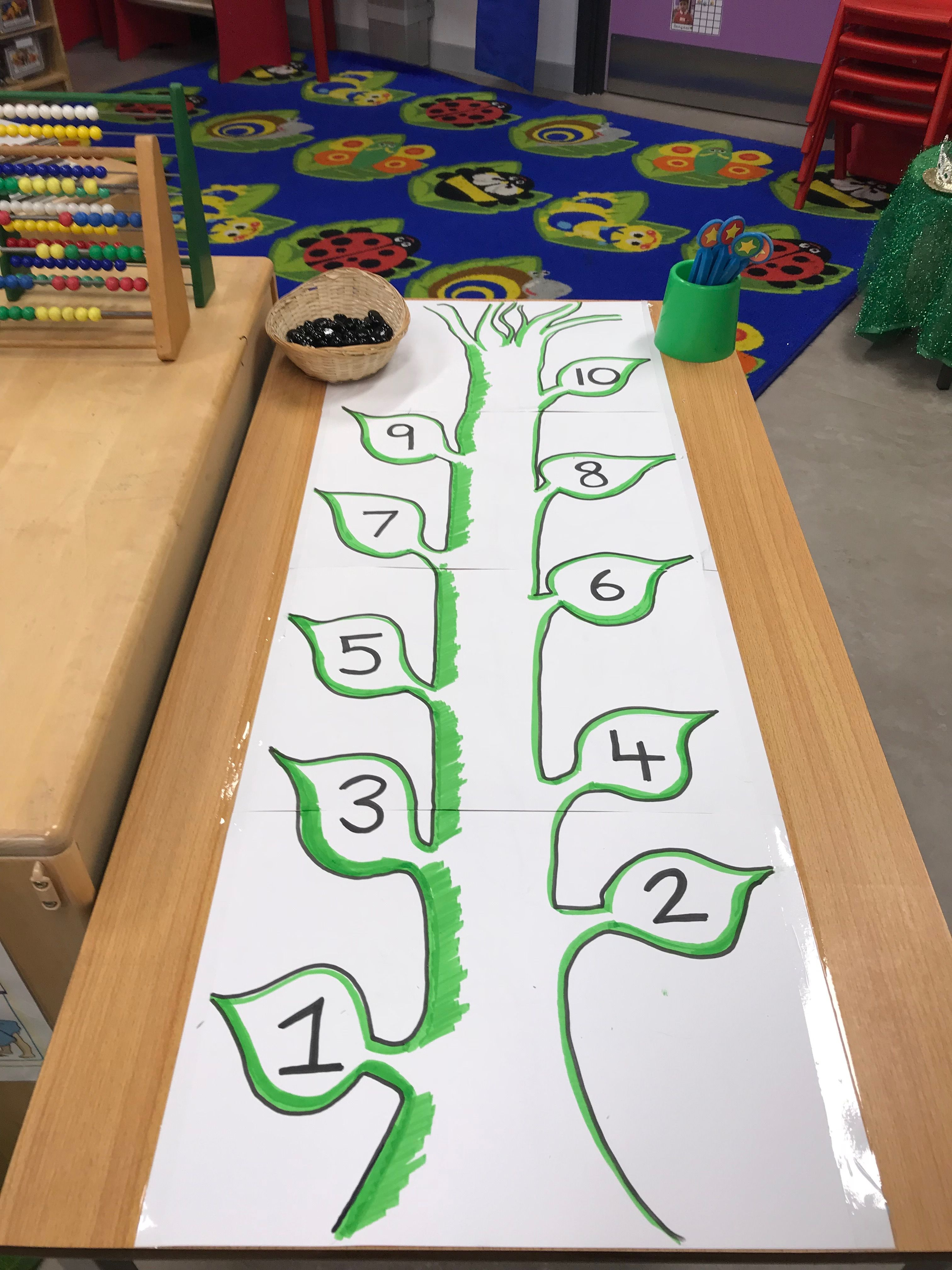EYFS Fairy tales- Beanstalk finger gym counting with black pebbles ...