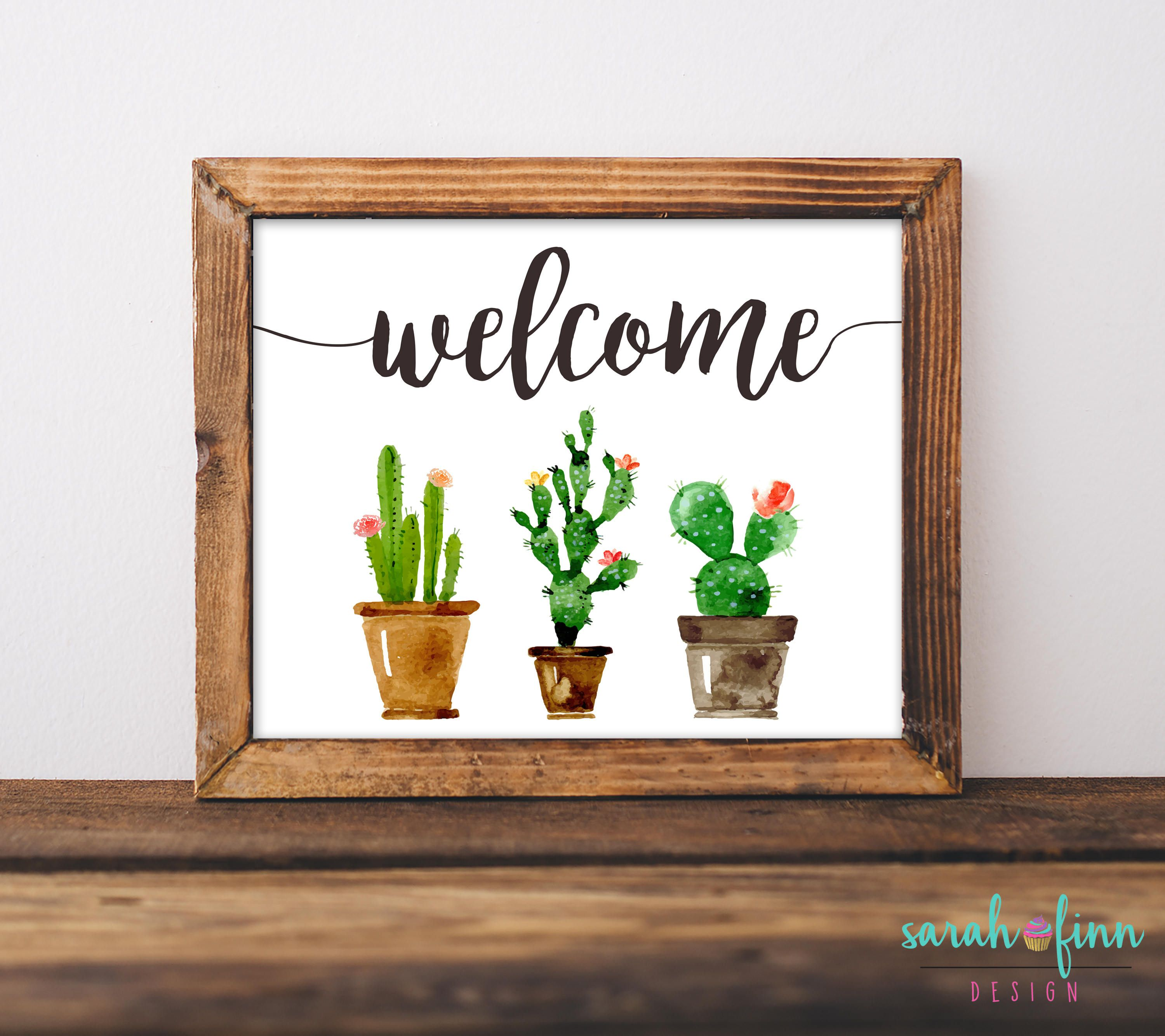 Cactus Welcome Sign Watercolor Cactus Art Print Teacher