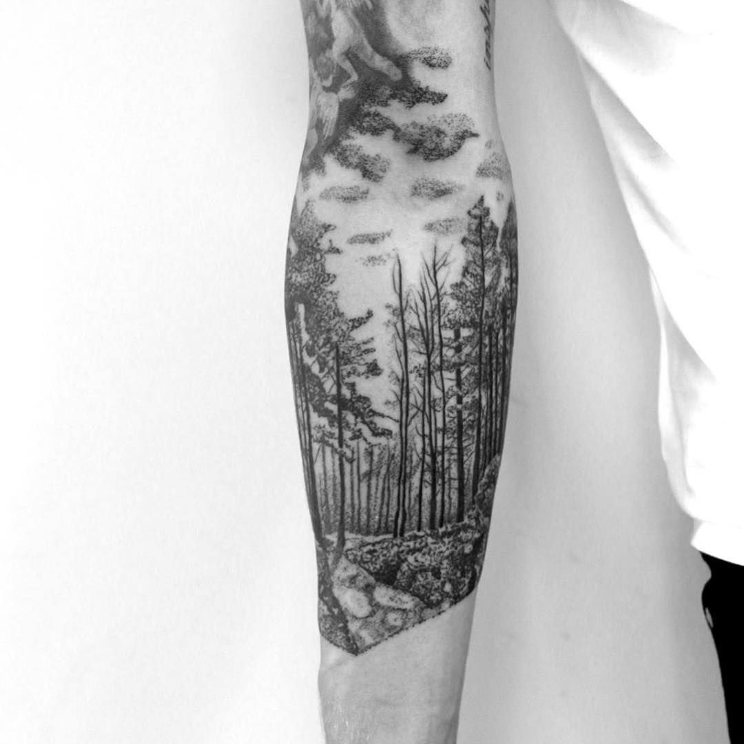 blackwork forest forest tatoo pinterest tattoo ideen. Black Bedroom Furniture Sets. Home Design Ideas
