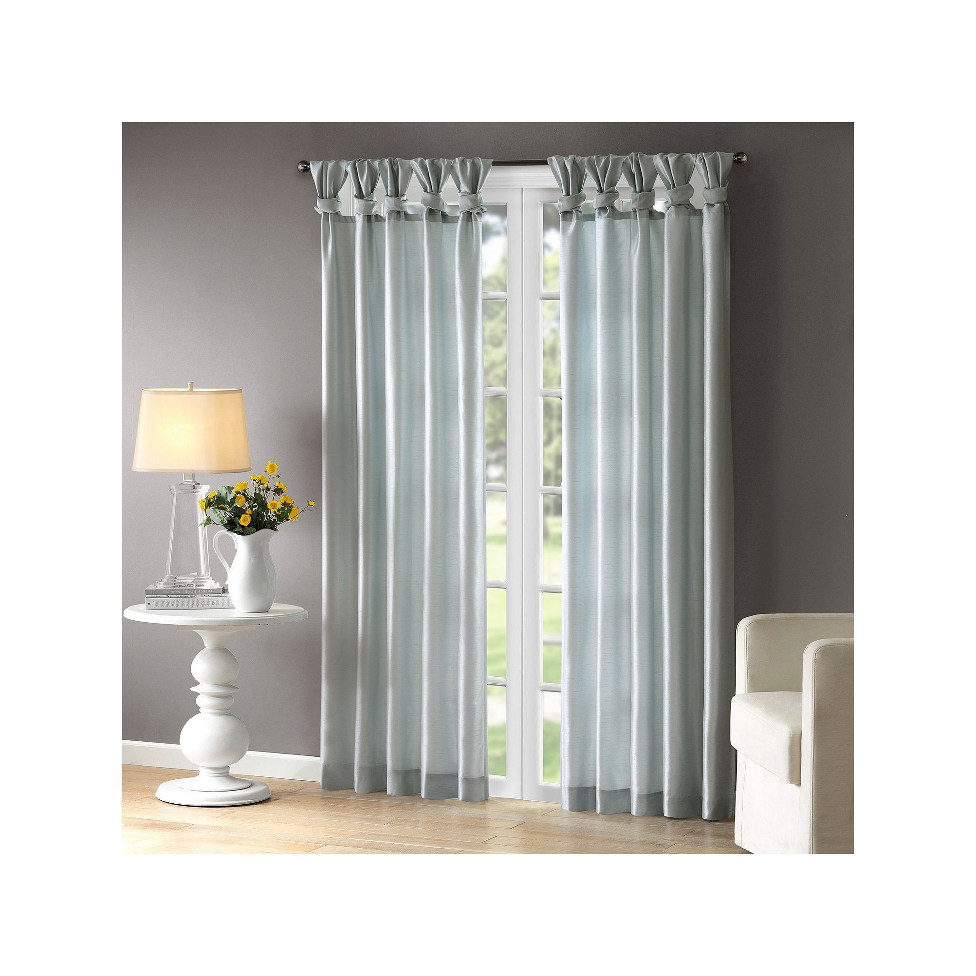 Madison Park Natalie Twisted Tab Lined Curtain Blue