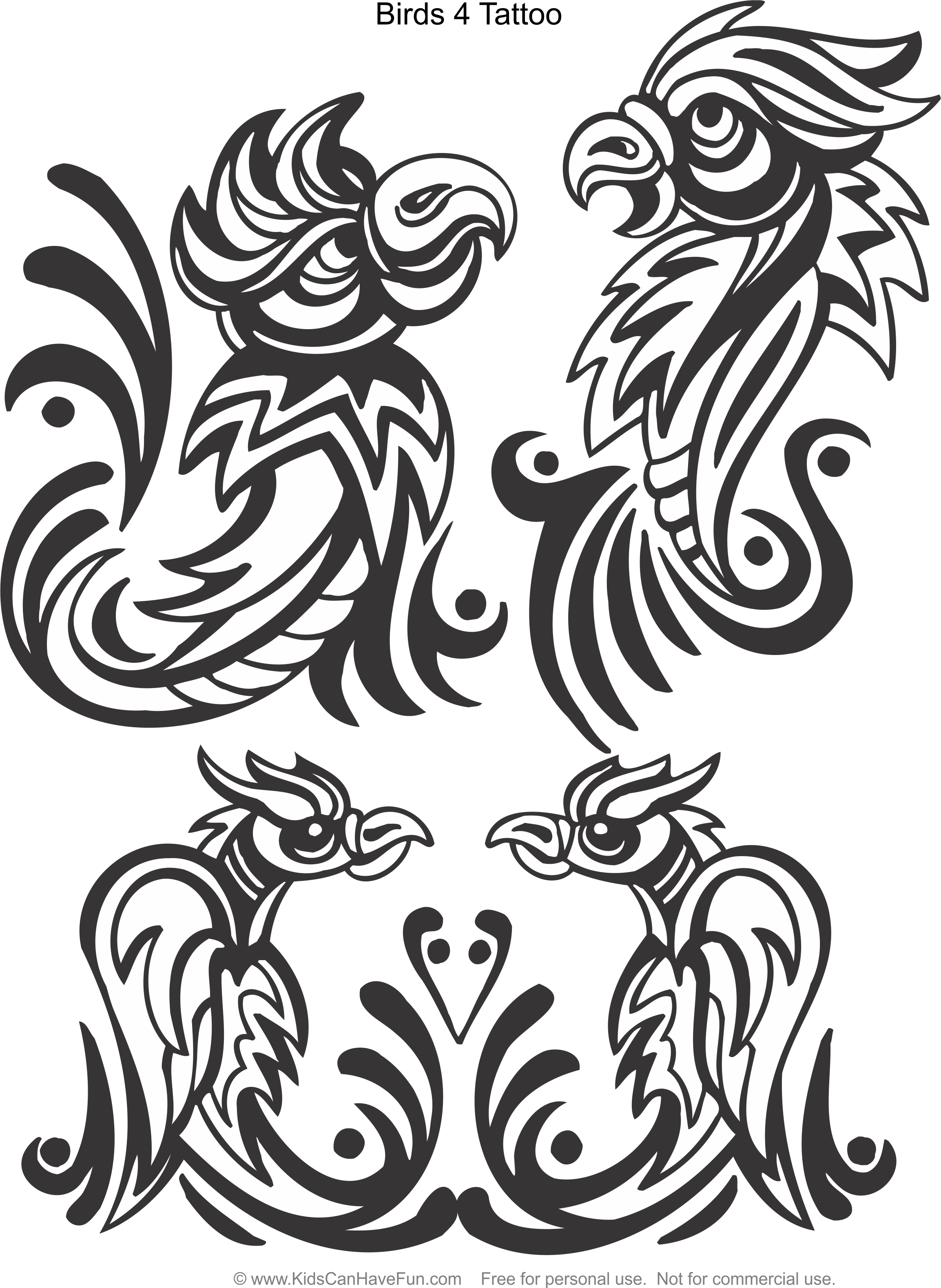 birds 4 tattoo design coloring page www kidscanhavefun com