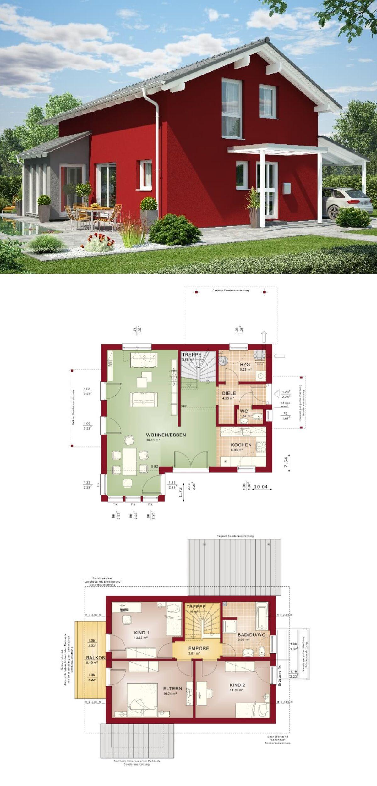 Bungalow Haus Modern Mit Flachdach Architektur Fassade Rot Weiß    Einfamilienhaus Innen Bungalow 147 ELK Fertighaus Ideen Bauen    HausbauDirekt.de ...