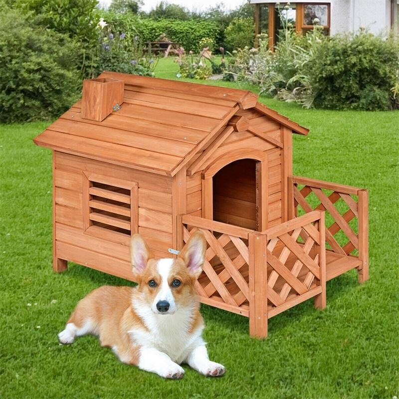 Wooden Pet Dog House Crates With Porch Window Kennels For Small To