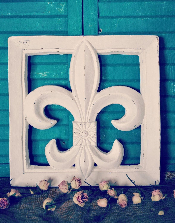 Fleur+De+Lis+Distressed+White+Paris+Chic+Shabby+by+JunkLoveandCo,+$30.00