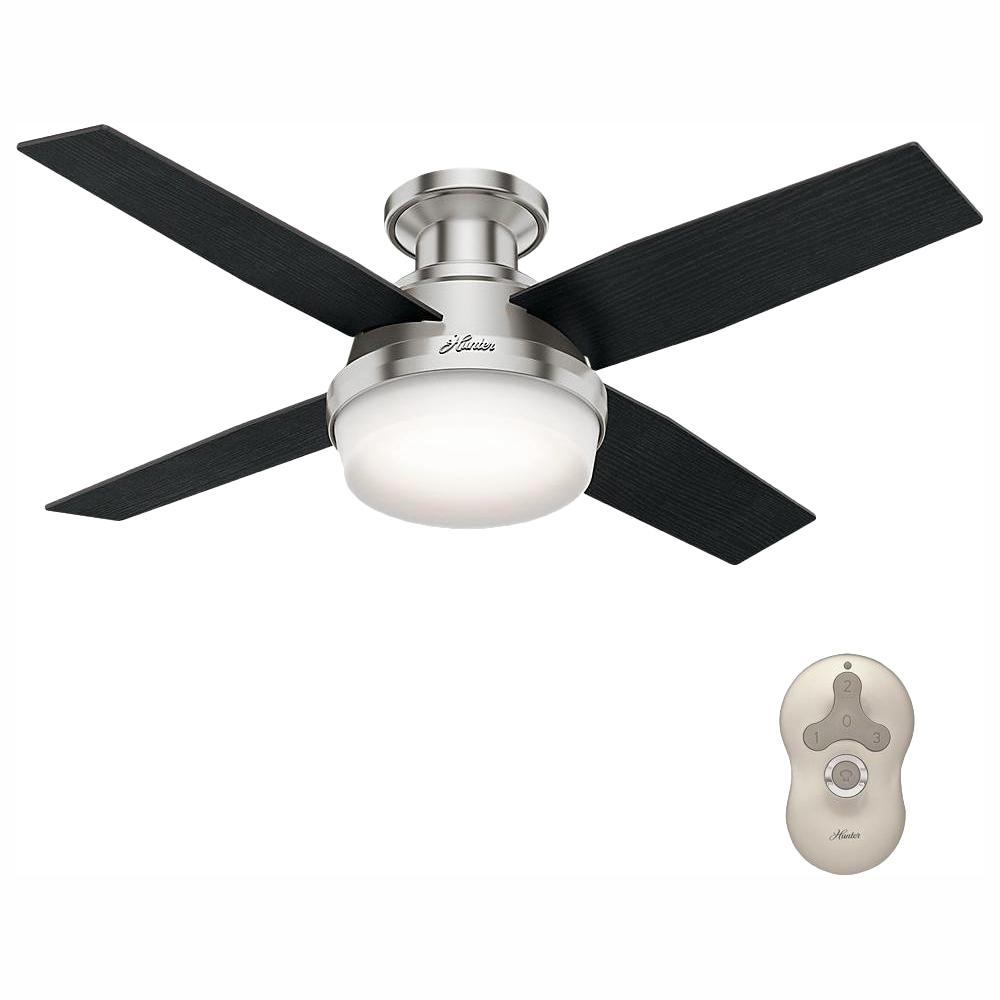 Hunter Dempsey 44 In Low Profile Led Indoor Brushed Nickel Ceiling Fan With Light Kit And Universal Remote Brushed Nickel Ceiling Fan Ceiling Fan Hunter Ceiling Fans