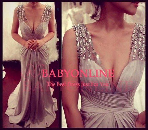 Sexy Deep V Neck Women Evening Long Dress With Crystal 2015 Court Train Satin Silver Rhinestone Evening Gowns