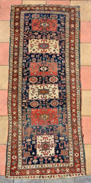 Beautiful Shahsavan Runner circa 1860, lot of beautiful animals drawings, nice condition. size is 310 x 123 cm