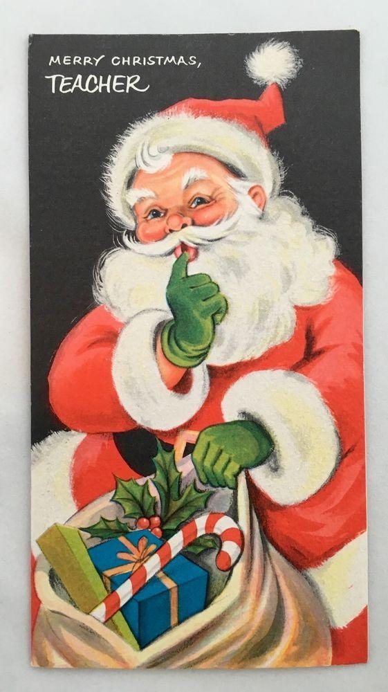 Vintage Black Christmas Card Cute Santa Claus Glitter Beard Presents