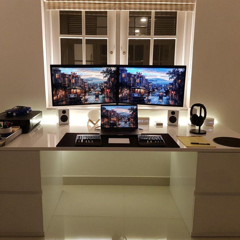 Home Office Dual Desk Setup: Developer Setup - 2017 MBP + Dual LG 5k : Macsetups