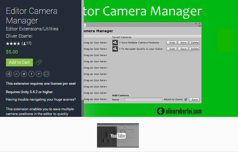 Editor Camera Manager Unity Asset Store Unreal Engine Unity