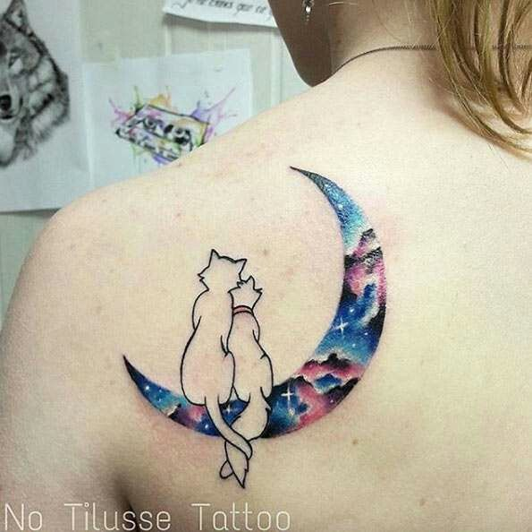 27 Magically Meaningful Tattoos Inspired By The World Of: Disney Galaxy Tattoo Moon Cats Romantic