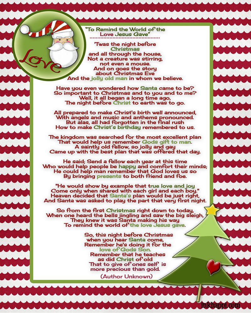 santa and christ come together in this beautiful christmas poem free printable - Christmas Devotional Stories