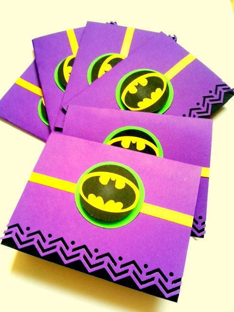 6 Batman Card Superhero Birthday Boy Thank You By