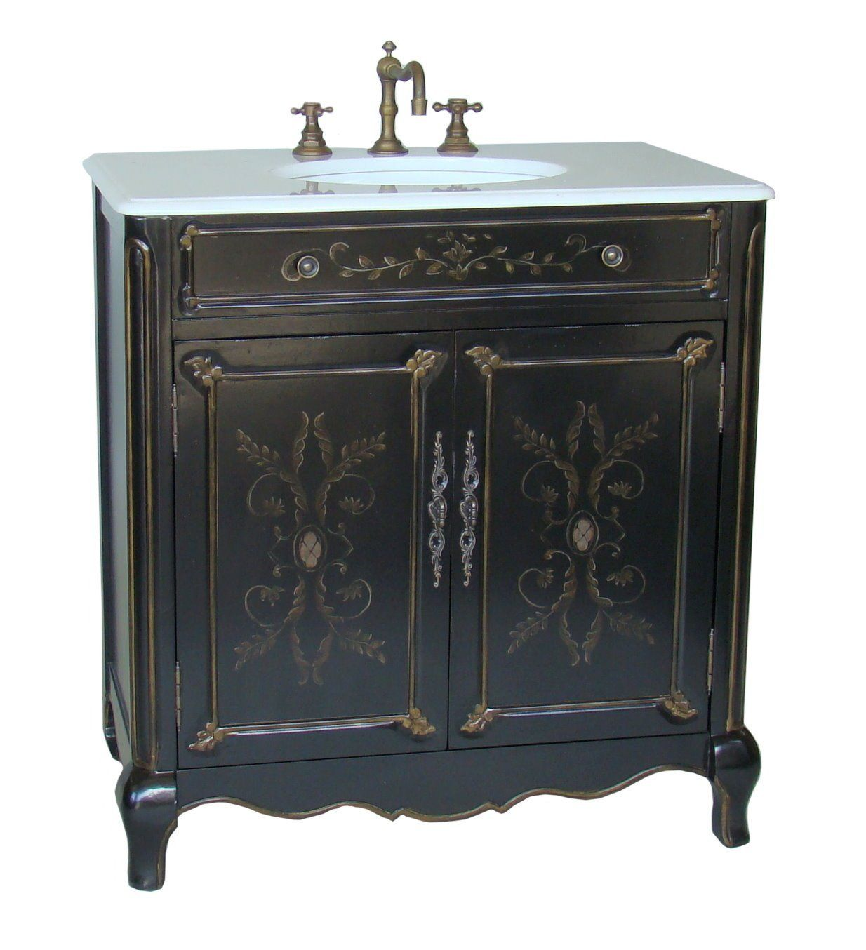 Adelina 32 Inch Cottage Hand Painted Bathroom Vanity, Depth And Richness Of  Our Hand Painted Floral Design Sink Vanity Cabinet Combine Old World  Furniture ...