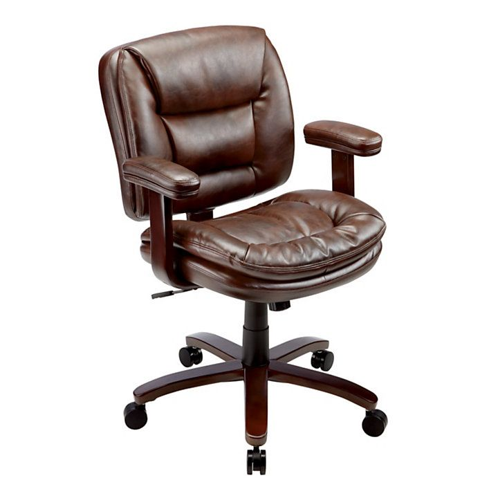 Reale Elmhart Low Back Bonded Leather Task Chair Cherryespresso By Office Depot Officemax