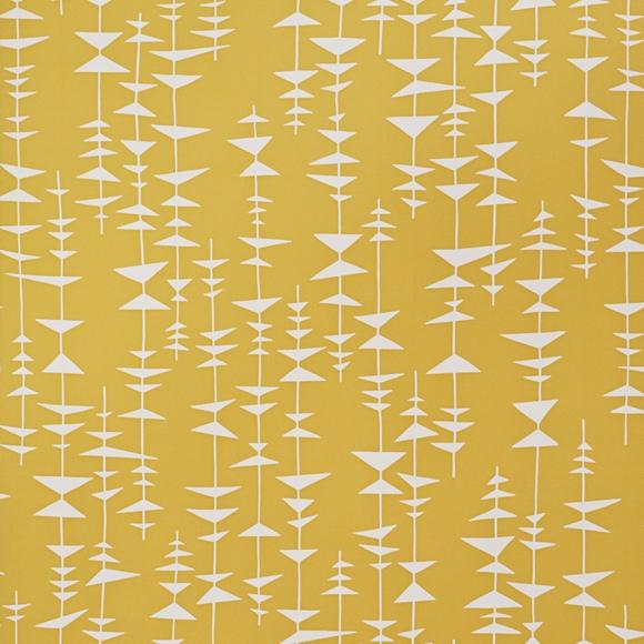 Papier peint Ditto – Jaune tonique et petits triangles blancs